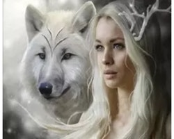 SNART I BUTIK - Diamanttavla (R) Wolfwoman 50x50