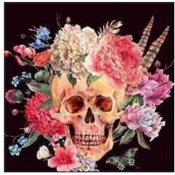Diamanttavla Skull Flowers 50x50