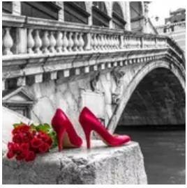 Diamanttavla Red Shoe Bridge 40x50