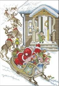 Korsstygnsbroderi Santa and Deers 30x41