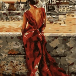 Paint By Numbers Lady In Red Dress 40x50