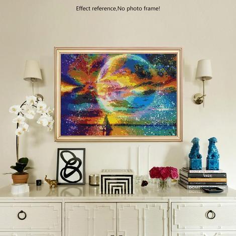 Diamanttavla Sailing In Colorful Moonlight 40x50