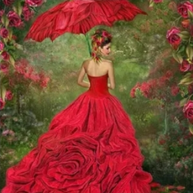 Diamanttavla Lady In Red Umbrella 40x50