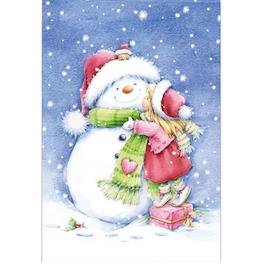 Diamanttavla Snowman And Girl 40x50