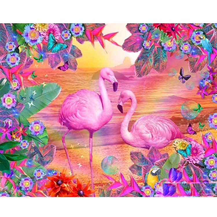 Diamanttavla Flamingo And Flowers 40x50