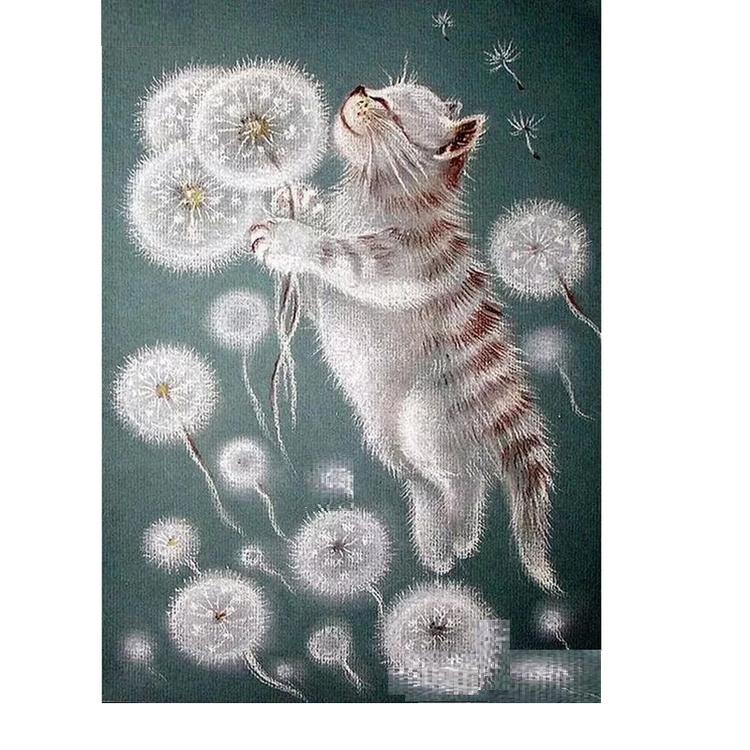 Diamanttavla (R) Dandelion And Cat 40x50