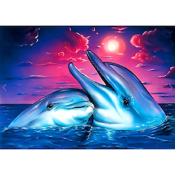 Diamanttavla (R) Happy Dolphin 30x40