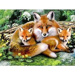 Diamanttavla (R) Fox Family 50x40