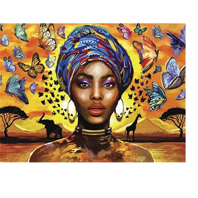 Diamanttavla (R) African Woman With Butterflys 40x50