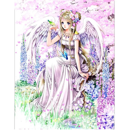 Diamanttavla Cartoon Angel With Birds 50x70