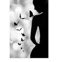 Diamanttavla (R) Kvinna Med Fjärilar 40x50