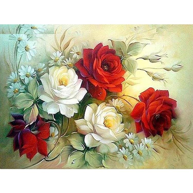 Diamanttavla (R) Red And White Roses 50x70