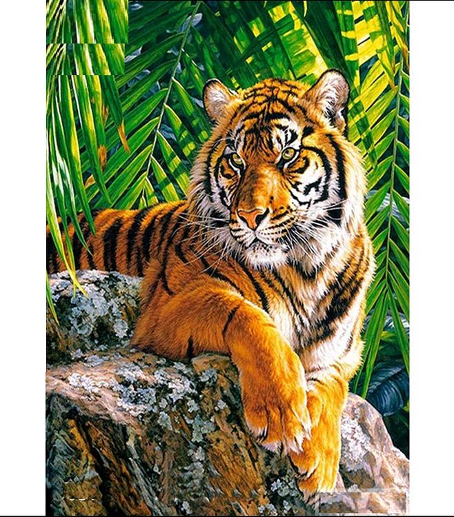 Diamanttavla (R) Tiger In The Djungel 40x60