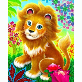 Diamanttavla Cartoon Baby Lion 30x40