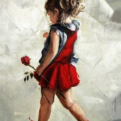 Diamanttavla Girl With Rose 40x50