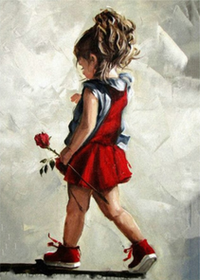 Diamanttavla Girl With Rose 40x50