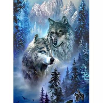 Diamanttavla Snow Mountain Wolf 50x70