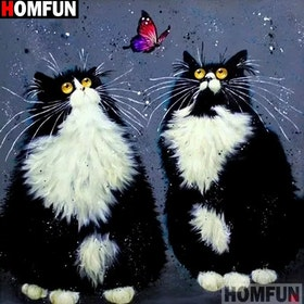 Diamanttavla (R) Cats Staring At Butterfly 40x40