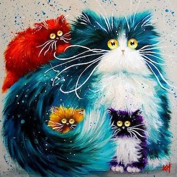 Diamanttavla (R) Fluffy Cats 50x50