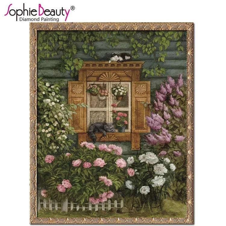 Diamanttavla Garden Window 40x50