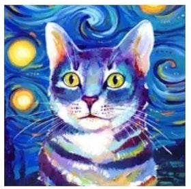 Diamanttavla (R) Blue Abstract Cat 40x50