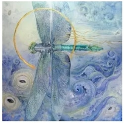 Diamanttavla Dragonfly Waves 40x40