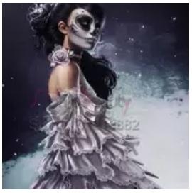 Diamanttavla Skull Lady 40x50