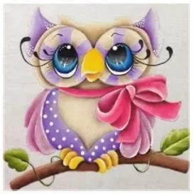 Diamanttavla Pretty Owl 40x40