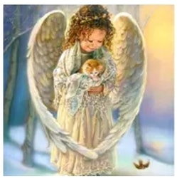 Diamanttavla Angelchild With Cat 40x50