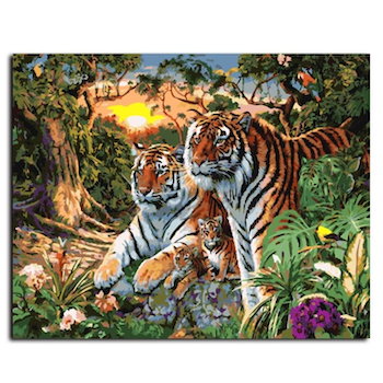 Paint By Numbers Tiger Family 40x50