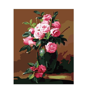 Paint By Numbers Pink Roses In Vase