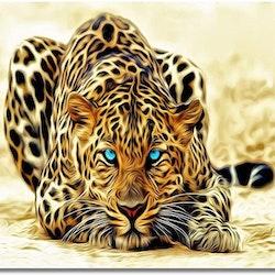 Paint By Numbers Leopard Blue Eyes - Leveranstid 1-3 Dagar