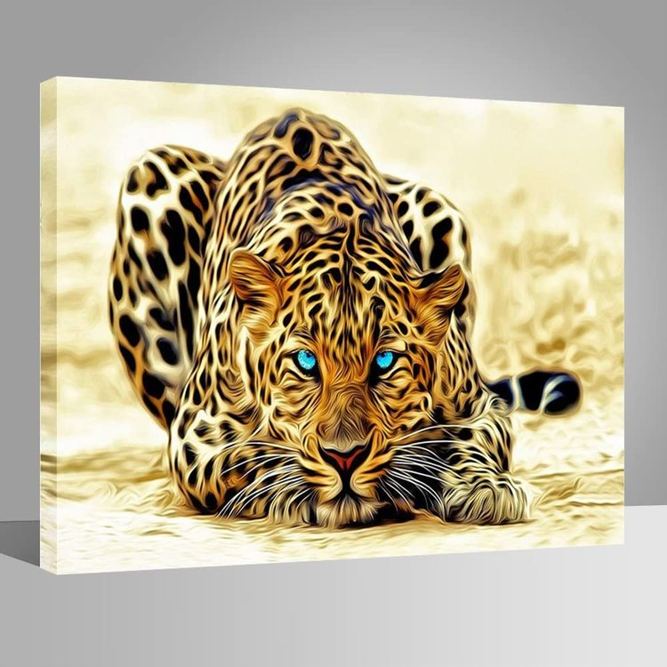 Paint By Numbers Leopard Blue Eyes 40x50