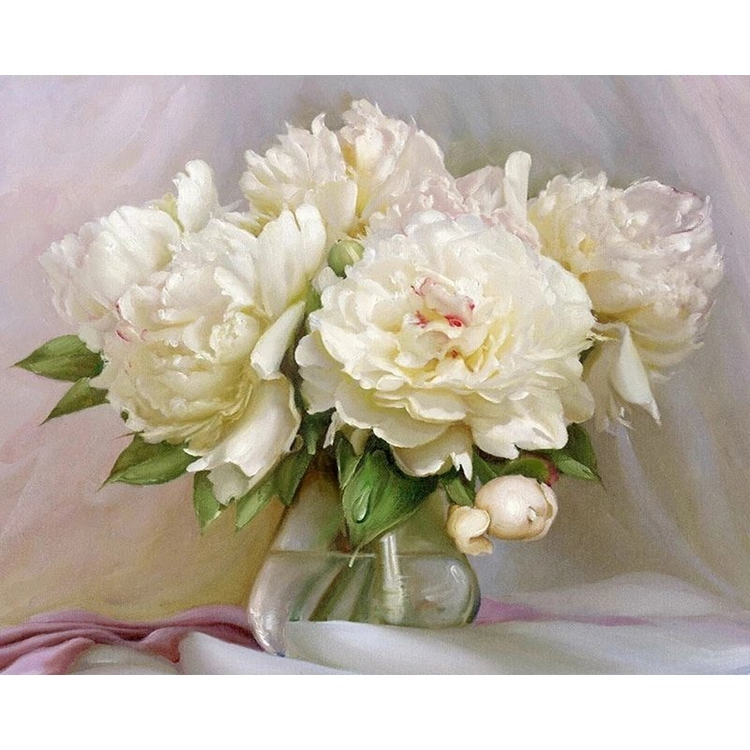 Paint By Numbers White Peony 40x50
