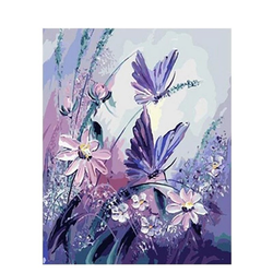 Paint By Numbers Purple Butterflies 40x50