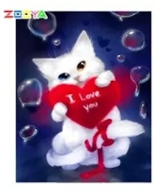 Diamanttavla I Love You Cat 30x40