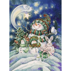 Diamanttavla Cartoon Snowmanfamily 40x50