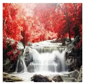 Diamanttavla Autum Waterfall 50x70