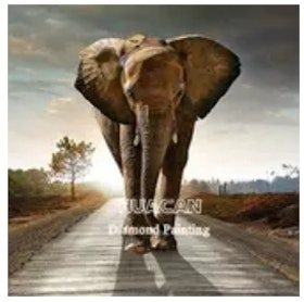 Diamanttavla Elephant On Road 50x70