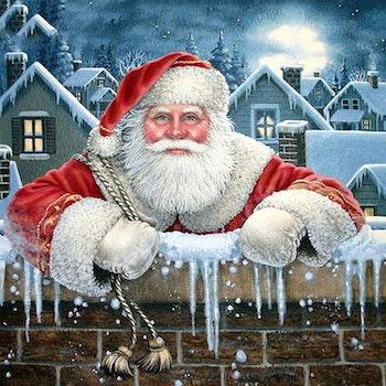Diamanttavla Santa On The Roof 50x50 - Leveranstid 1-3 Dagar