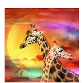 Diamanttavla Giraffer I Solnedgång 40x40