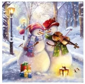 Diamanttavla Snowman Plays Violin 50x50