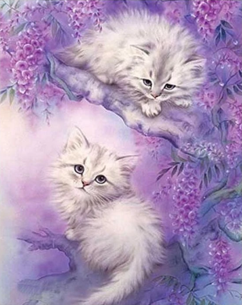Diamanttavla (R) Cute Kittens In Tree 40x50