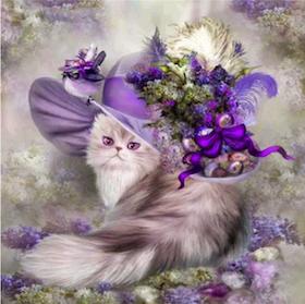 Diamanttavla Purple Cat In Hat 40x40