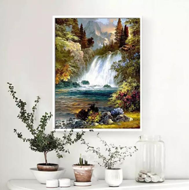 Diamanttavla Nature Waterfall 40x50