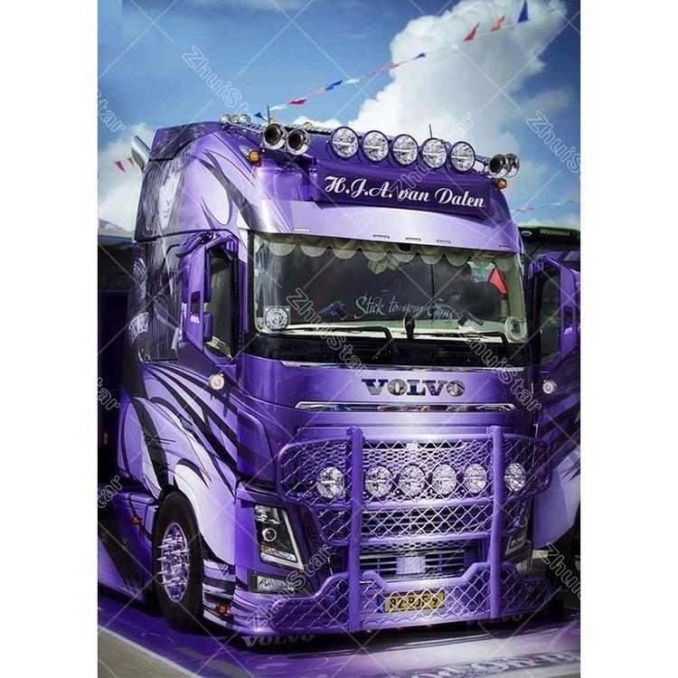 Diamanttavla (R) Purple Truck 40x50