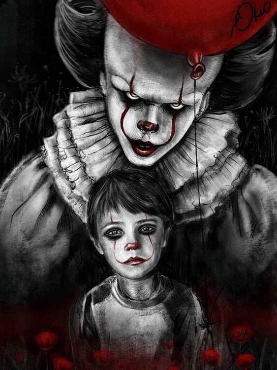Diamanttavla Pennywise And Boy 40x50