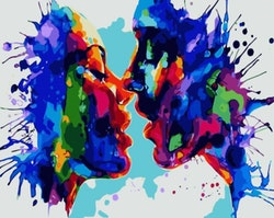 Paint By Numbers Colorful Kiss 40x50