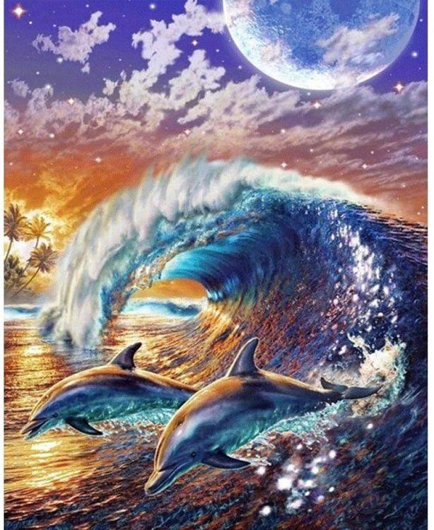 Diamanttavla (R) Dolphins And Waves 40x50