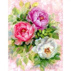 Diamanttavla Peony Flowers 40x50